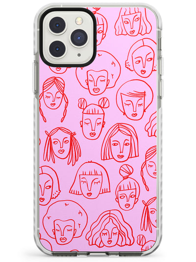 Girl Portrait Doodles in Pink & Red Impact Phone Case for iPhone 11 Pro Max