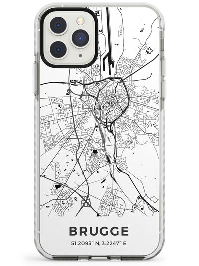 Map of Brugge, Belgium Impact Phone Case for iPhone 11 Pro Max