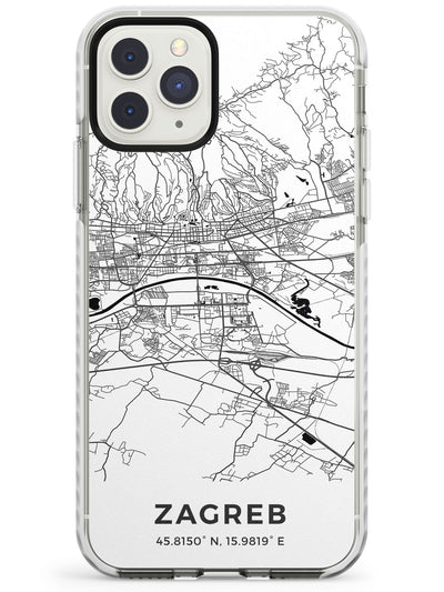 Map of Zagreb, Croatia Impact Phone Case for iPhone 11 Pro Max