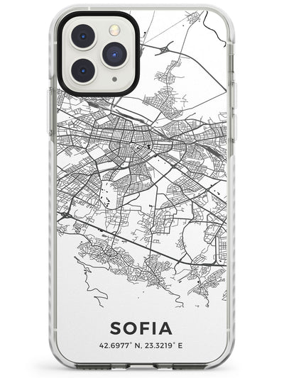 Map of Sofia, Bulgaria Impact Phone Case for iPhone 11 Pro Max