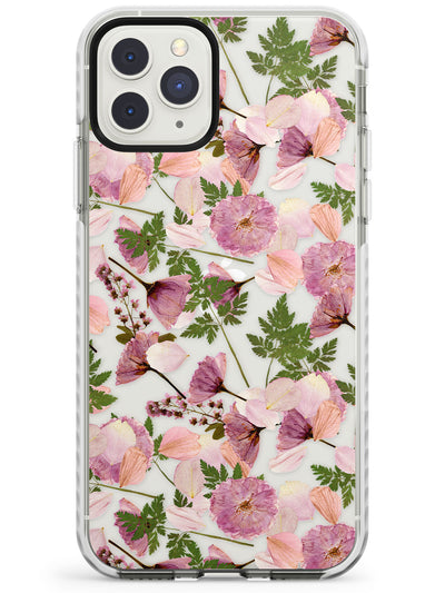 Leafy Floral Pattern Transparent Design Impact Phone Case for iPhone 11 Pro Max