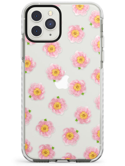 Pink Peonies Transparent Pattern Impact Phone Case for iPhone 11 Pro Max