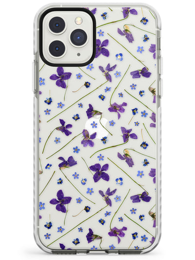 Violet & Blue Floral Pattern Design Impact Phone Case for iPhone 11 Pro Max