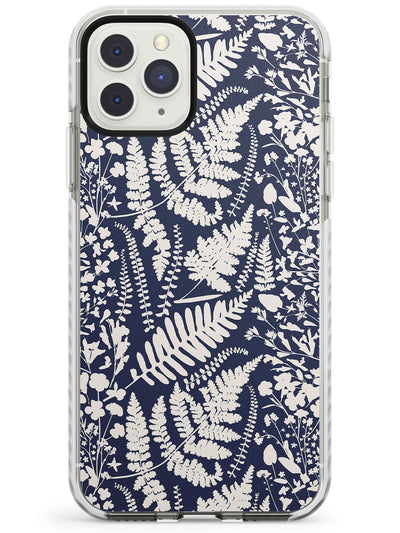 Wildflowers and Ferns on Navy Impact Phone Case for iPhone 11 Pro Max