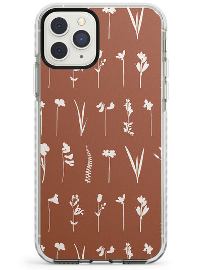 Minimalistic Wildflower Design on Terracotta Impact Phone Case for iPhone 11 Pro Max
