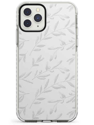 Grey Olive Sprigs Vintage Botanical Impact Phone Case for iPhone 11 Pro Max