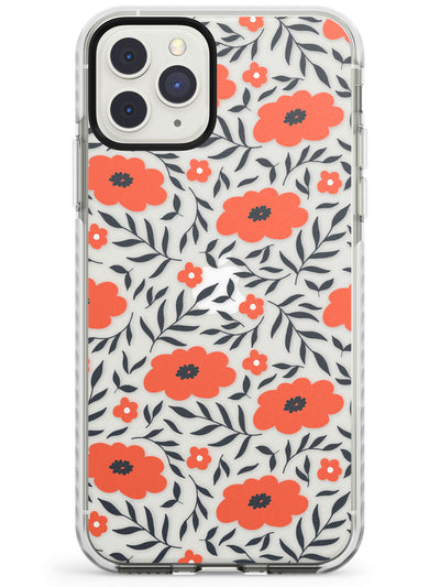 Red Poppy Transparent Floral Impact Phone Case for iPhone 11 Pro Max