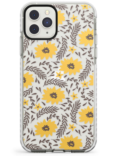 Yellow Blossoms Transparent Floral Impact Phone Case for iPhone 11 Pro Max