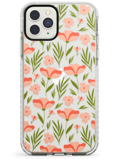 Pink Petals Transparent Floral Impact Phone Case for iPhone 11 Pro Max