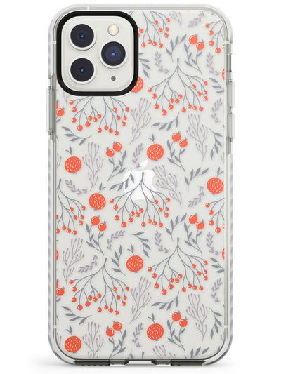 Red Fruits Transparent Floral Impact Phone Case for iPhone 11 Pro Max