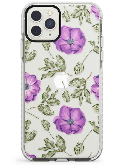 Purple Blossoms Transparent Floral Impact Phone Case for iPhone 11 Pro Max