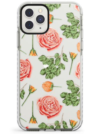 Pink Roses Transparent Floral Impact Phone Case for iPhone 11 Pro Max