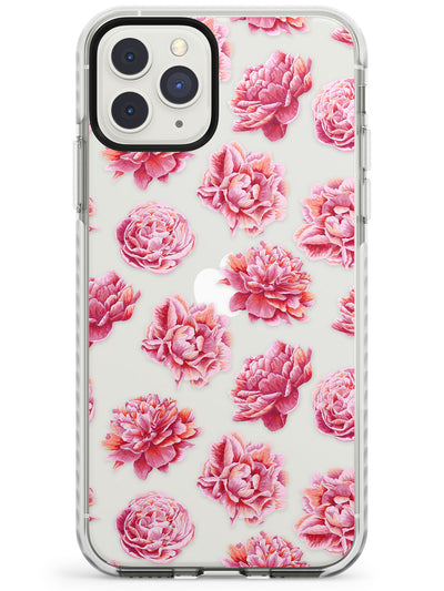 Pink Peonies Transparent Floral Impact Phone Case for iPhone 11 Pro Max