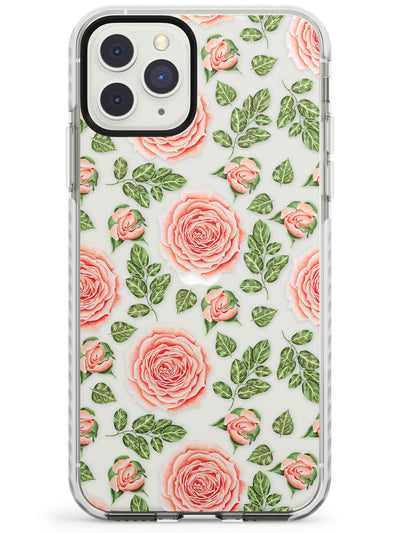 Roses & Rose Buds Transparent Floral Impact Phone Case for iPhone 11 Pro Max