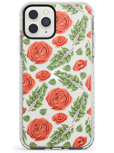 Roses & Poppies Transparent Floral Impact Phone Case for iPhone 11 Pro Max