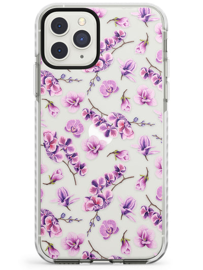Purple Orchids Transparent Floral Impact Phone Case for iPhone 11 Pro Max