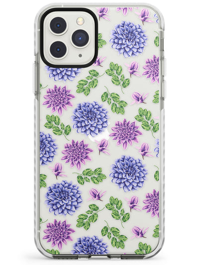 Purple Dahlias Transparent Floral Impact Phone Case for iPhone 11 Pro Max