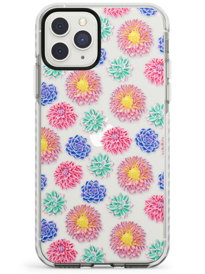 Colourful Mix Transparent Floral Impact Phone Case for iPhone 11 Pro Max