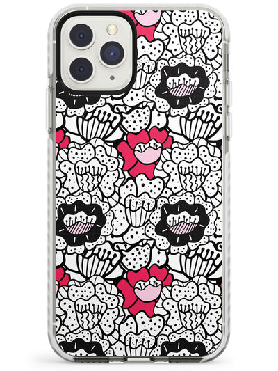 Funky Floral Patterns Black Outline Impact Phone Case for iPhone 11 Pro Max