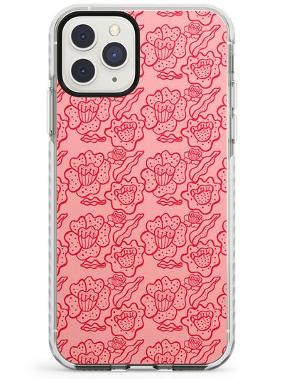 Funky Floral Patterns Red on Pink Impact Phone Case for iPhone 11 Pro Max
