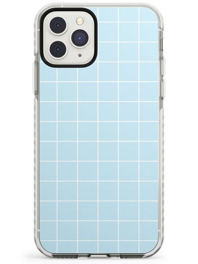 Simplistic Large Grid Pattern Pale Blue Impact Phone Case for iPhone 11 Pro Max