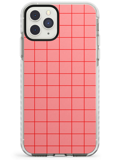 Simplistic Large Grid Pattern Pink Impact Phone Case for iPhone 11 Pro Max