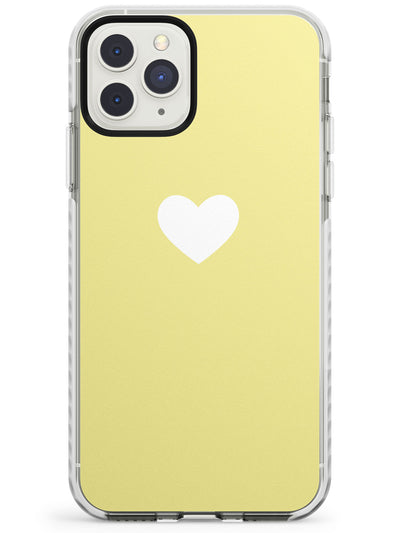 Single Heart White & Light Yellow Impact Phone Case for iPhone 11 Pro Max