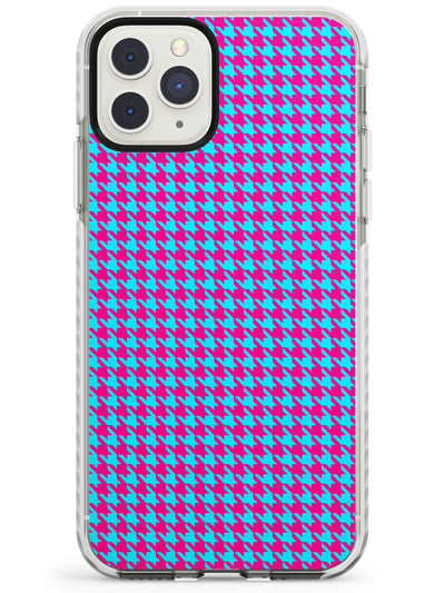 Neon Pink & Turquoise Houndstooth Pattern Impact Phone Case for iPhone 11 Pro Max