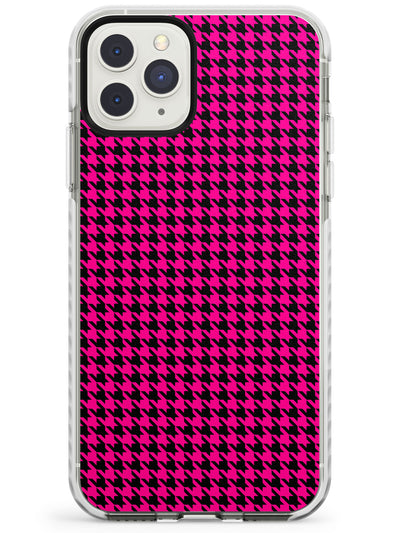 Neon Pink & Black Houndstooth Pattern Impact Phone Case for iPhone 11 Pro Max