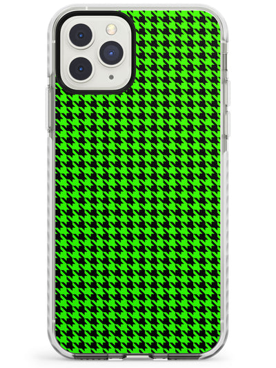 Neon Lime & Black Houndstooth Pattern Impact Phone Case for iPhone 11 Pro Max