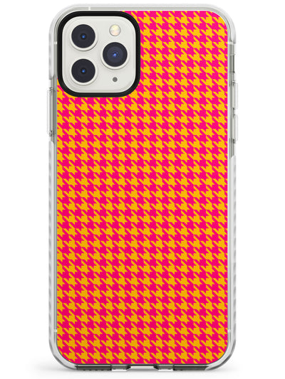 Neon Orange & Pink Houndstooth Pattern Impact Phone Case for iPhone 11 Pro Max