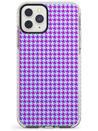 Neon Purple & Turquoise Houndstooth Pattern Impact Phone Case for iPhone 11 Pro Max