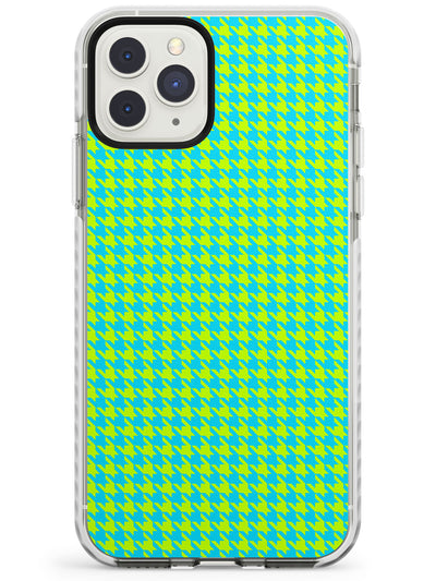 Neon Lime & Turquoise Houndstooth Pattern Impact Phone Case for iPhone 11 Pro Max