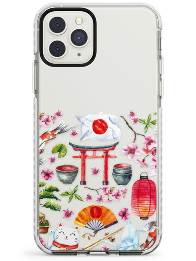 Half Pattern Half Transparent Japanese Watercolour Impact Phone Case for iPhone 11 Pro Max