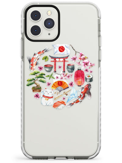 Round Pattern Japanese Watercolour Design Impact Phone Case for iPhone 11 Pro Max