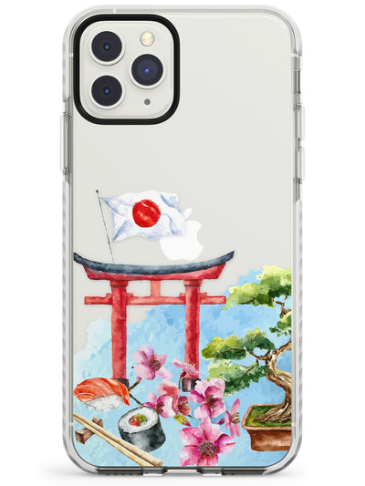Japanese Watercolour Transparent Design Impact Phone Case for iPhone 11 Pro Max