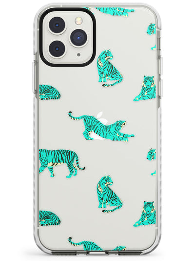 Turquoise Tiger Jungle Cat Pattern Impact Phone Case for iPhone 11 Pro Max