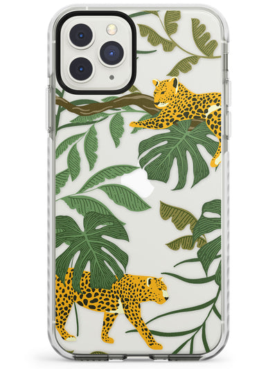 Two Jaguars & Foliage Jungle Cat Pattern Impact Phone Case for iPhone 11 Pro Max