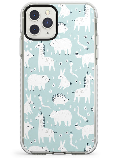 Adorable Mixed Animals Pattern (Blue) Impact Phone Case for iPhone 11 Pro Max