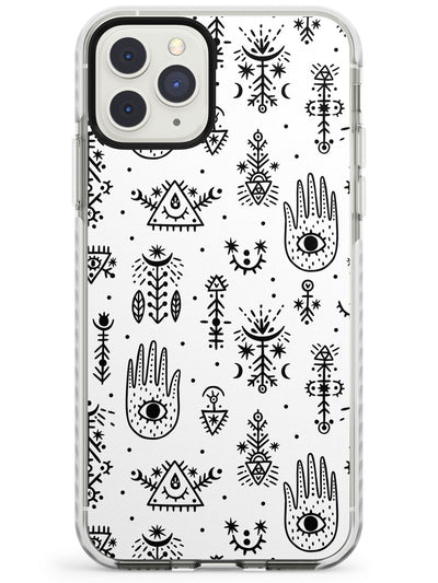 Tribal Palms - Black on White Impact Phone Case for iPhone 11 Pro Max