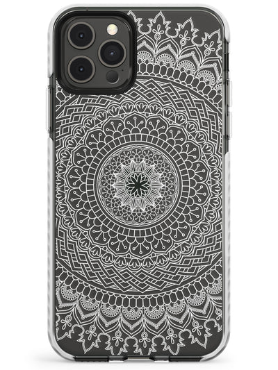 Large White Mandala Transparent Design Slim TPU Phone Case for iPhone 11 Pro Max