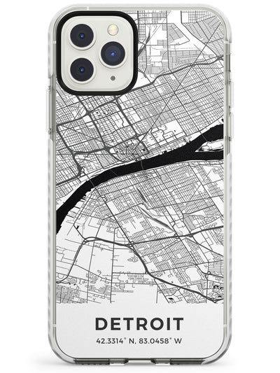 Map of Detroit, Michigan Impact Phone Case for iPhone 11 Pro Max