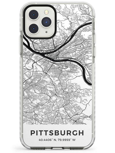 Map of Pittsburgh, Pennsylvania Impact Phone Case for iPhone 11 Pro Max