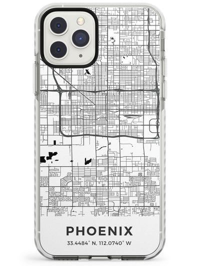 Map of Phoenix, Arizona Impact Phone Case for iPhone 11 Pro Max