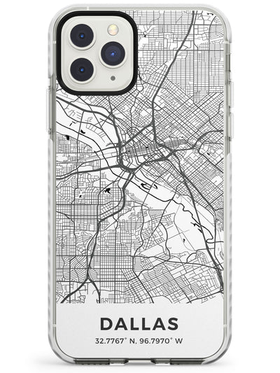 Map of Dallas, Texas Impact Phone Case for iPhone 11 Pro Max