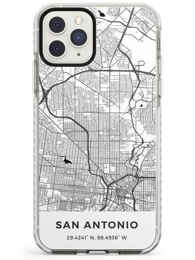 Map of San Antonio, Texas Impact Phone Case for iPhone 11 Pro Max