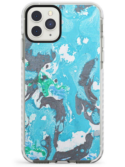 Blue & Grey Marbled Paper Pattern Impact Phone Case for iPhone 11 Pro Max