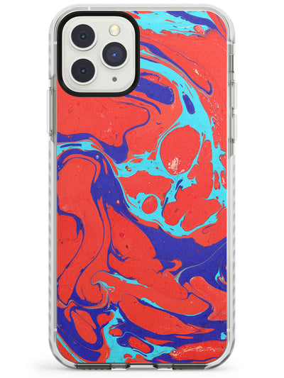 Red, Navy & Turquoise Marbled Paper Pattern Impact Phone Case for iPhone 11 Pro Max
