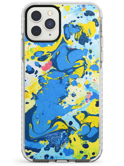 Yellow & Blue Marbled Paper Pattern Impact Phone Case for iPhone 11 Pro Max