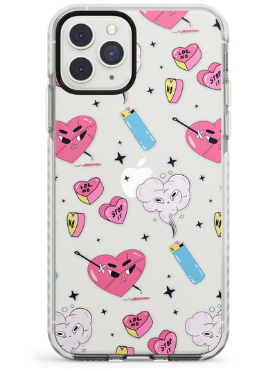 Grumpy Love Hearts (Clear) Impact Phone Case for iPhone 11 Pro Max